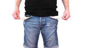 Kein Geld, Leere Hosentaschen zeigen