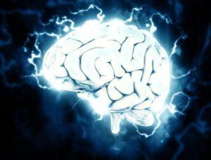 Migräne mit Aura - Gehirn mit Blitzen
